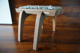 Minimalist Oak wood stool Upholstered with curly silver Swedish Gotland sheepskin - S051609