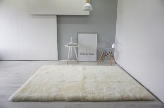 Luxury Genuine Square | Rectangular Sheepskin Rug - Creamy White Mix - RCTN 2