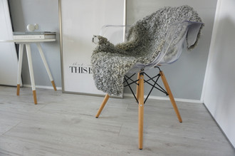 Genuine - Rare Breed Swedish Gotland Sheepskin Rug - Soft Curly Wool - Natural Grey | Silver | Ivory Mix - SG 129