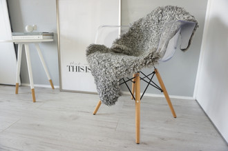 Genuine - Rare Breed Swedish Gotland Sheepskin Rug - Soft Curly Wool - Natural Grey | Silver | Ash | Ivory Mix - SG 140
