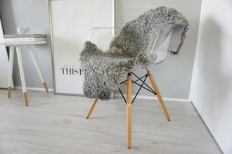 Genuine - Rare Breed Swedish Gotland Sheepskin Rug - Soft Curly Wool - Natural Grey | Ash | Silver | Ivory Mix - SG 142