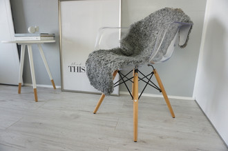 Genuine - Rare Breed Swedish Gotland Sheepskin Rug - Soft Curly Wool - Natural Grey | Ash | Silver | Latte Mix - SG 146