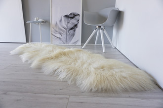 Genuine Mongolian Style Icelandic Double Sheepskin Rug - Curly Long Wool - Natural Creamy White | Champagne | Ivory Mix - DM 12