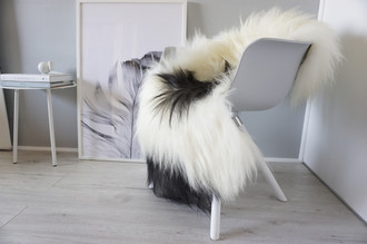 Natural Genuine Rare Breed Icelandic Sheepskin Rug - Blacky Brown | Grey | Creamy White Mix - Soft Touch Long Wool - SI 210