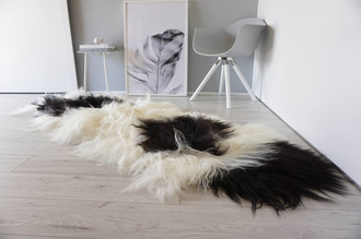 Genuine Rare Breed Icelandic - Double Natural Sheepskin Rug | Blacky Brown | Creamy White Mix - DI 21