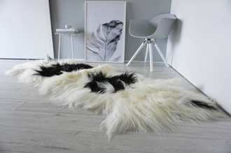 Genuine Rare Breed Icelandic - Double Natural Sheepskin Rug | Blacky Brown | Creamy White Mix - DI 22
