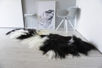 Genuine Rare Breed Icelandic - Double Natural Sheepskin Rug | Blacky Brown | Creamy White Mix - DI 23