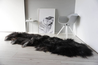 Genuine Rare Breed Icelandic - Double Natural Sheepskin Rug Blacky Brown | Silver | Grey Mix - DI 28