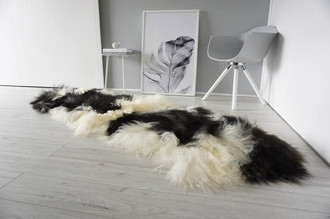 Genuine Rare Breed Icelandic - Double Natural Sheepskin Rug Blacky Brown | Silver | Grey | Creamy White Mix - DI 32