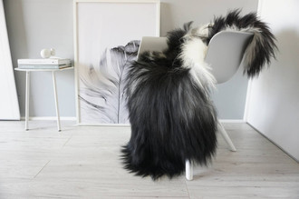 Natural Genuine Rare Breed Icelandic Sheepskin Rug - Blacky Brown | Creamy White | Grey | Silver Mix - Soft Touch Long Wool - SI 237