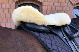 Genuine medical sheepskin English style horse saddle cover - Super soft shorn wool - L size