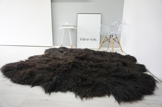 Amazing Genuine Rare Sexto Icelandic Sheepskin Rug - Soft Long Black & Brown Wool Colour - Hand Made Eco product of EU