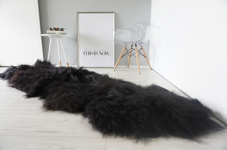 Amazing Genuine Rare Breed - Double - Icelandic Sheepskin Rug - Natural Black/Brown Mix Colour