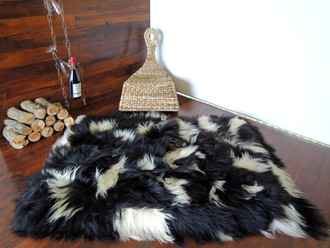 Amazing Genuine Rare Icelandic Breed - Rectangular Sheepskin Rug - Natural White / Black - eRCTI 6