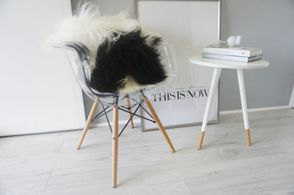 Natural icelandic sheepskin cushion - soft silky white and black long wool - genuine luxury pillow