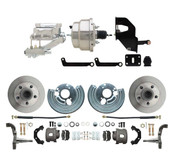 "DBK6272-MP-306  1962-1972 Mopar B & E Body Standard Front Disc Brake Conversion Kit ( Charger, Challenger, Coronet) w/ 8"" Dual Chrome Booster Conversion Kit w/ Flat Top Chrome Master Cylinder & Left Mount Proportioning Valve Kit"