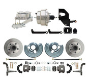 "DBK6272-MP-307  1962-1972 Mopar B & E Body Standard Front Disc Brake Conversion Kit ( Charger, Challenger, Coronet) w/ 8"" Dual Chrome Booster Conversion Kit w/ Dual Bail Chrome Master Cylinder & Left Mount Proportioning Valve Kit"