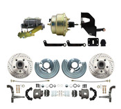 "DBK6272LX-MP-202  1962-1972 Mopar B & E Body  Front Disc Brake Conversion Kit w/ Drilled & Slotted Rotors ( Charger, Challenger, Coronet) w/ 8"" Dual Zinc Booster Conversion Kit w/ Left Mount proportioning valve Kit"