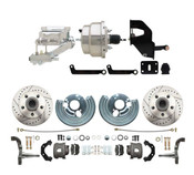 "DBK6272LX-MP-307  1962-1972 Mopar B & E Body  Front Disc Brake Conversion Kit w/ Drilled & Slotted Rotors ( Charger, Challenger, Coronet) w/ 8"" Dual Chrome Booster Conversion Kit w/ Flat Top Chrome Master Cylinder & Left Mount Proportioning Valve Kit"