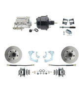 "DBK6568-GMFS3-710  - 1965-1968 GM Full Size Front Disc Brake Kit (Impala, Bel Air, Biscayne) & 8"" Dual Powder Coated Black Booster Conversion Kit w/ Chrome Flat Top Master Cylinder Bottom Mount Disc/ Drum Proportioning Valve Kit"