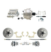 "DBK5964-GMFS2-308  - 1959-1964 GM Full Size Front Disc Brake Kit (Impala, Bel Air, Biscayne) & 8"" Dual Chrome Booster Conversion Kit w/ Flat Top Chrome Master Cylinder Bottom Mount Disc/ Drum Proportioning Valve Kit"