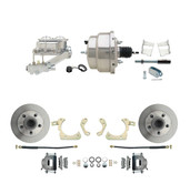 "DBK5964-GMFS2-311  - 1959-1964 GM Full Size Front Disc Brake Kit (Impala, Bel Air, Biscayne) & 8"" Dual Chrome Booster Conversion Kit w/ Chrome Master Cylinder Left Mount Disc/ Drum Proportioning Valve Kit"