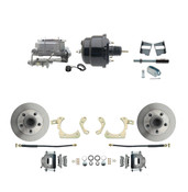 "DBK5964-GMFS2-708  - 1959-1964 GM Full Size Front Disc Brake Kit (Impala, Bel Air, Biscayne) & 8"" Dual Powder Coated Black Booster Conversion Kit w/ Aluminum Master Cylinder Bottom Mount Disc/ Drum Proportioning Valve Kit"