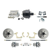 "DBK5964-GMFS2-710  - 1959-1964 GM Full Size Front Disc Brake Kit (Impala, Bel Air, Biscayne) & 8"" Dual Powder Coated Black Booster Conversion Kit w/ Chrome Flat Top Master Cylinder Bottom Mount Disc/ Drum Proportioning Valve Kit"