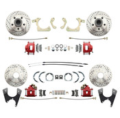 DBK59641012FSLX-R  - 1959-1964 Full Size Chevy Complete Disc Brake Conversion Kit w/ Powder Coated Red Calipers & Drilled/ Slotted Rotors