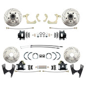 DBK59641012FSLXB  - 1959-1964 Full Size Chevy Complete Front & Rear Disc Brake Conversion Kit w/ Powder Coated Black Calipers & Drilled/ Slotted Rotors