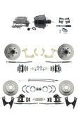"DBK59641012FS-GMFS2-722  - 1959-1964 GM Full Size Front & Rear Power Disc Brake Kit (Impala, Bel Air, Biscayne) & 8"" Dual Powder Coated Black Booster Conversion Kit w/ Aluminum Master Cylinder Bottom Mount Disc/ Drum Proportioning Valve Kit"
