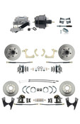 "DBK59641012FS-GMFS2-723  - 1959-1964 GM Full Size Front & Rear Power Disc Brake Kit (Impala, Bel Air, Biscayne) & 8"" Dual Powder Coated Black Booster Conversion Kit w/ Aluminum Master Cylinder Left Mount Disc/ Drum Proportioning Valve Kit"