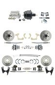 "DBK59641012FS-GMFS2-724  - 1959-1964 GM Full Size Front & Rear Power Disc Brake Kit (Impala, Bel Air, Biscayne) & 8"" Dual Powder Coated Black Booster Conversion Kit w/ Chrome Flat Top Master Cylinder Bottom Mount Disc/ Drum Proportioning Valve Kit"
