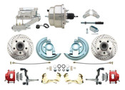 "DBK6472LXR-GM-309  - 1964-1972 GM A Body Front Power Disc Brake Conversion Kit Drilled & Slotted & Powder Coated Red Calipers Rotors w/8"" Dual Chrome Flat Top Booster Kit"