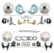 DBK62671012LX-B  - 1962-1967 Chevrolet Nova Front & Rear Disc Brake Conversion Kit Drilled & Slotted Rotors & Powder Coated Black Calipers