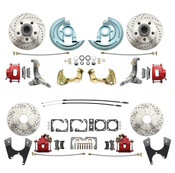 DBK62671012LX-R  - 1962-1967 Chevrolet Nova Front & Rear Disc Brake Conversion Kit Drilled & Slotted Rotors & Powder Coated Red Calipers