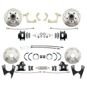 DBK55581012FSLX-B  - 1955-1958 GM Full Size Front & Rear  Disc Brake Kit Black Powder Coated Calipers Drilled/Slotted Rotors (Impala, Bel Air, Biscayne)