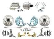 "DBK6267LX-GM-337  - 1962-1967 Nova Power Disc Brake Conversion Kit Drilled & Slotted Rotors w/ 7"" Dual Chrome Booster Kit"