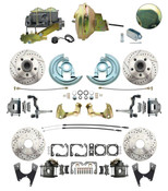 "DBK64721012LX-GM-242  - 1964-1972 GM A Body Front & Rear Power Disc Brake Conversion Kit Drilled & Slotted Rotors w/ 9"" Delco Stamped Booster Kit & Casting Number Master"