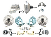 "DBK6472LX-GM-342  - 1964-1972 GM A Body Front Power Disc Brake Conversion Kit Drilled/ Slotted Rotors w/ 11"" Chrome Booster Kit"