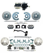 DBK6473-9LX-FD-256-D  - 1967-69 Ford Mustang OE Style Power Front & Rear Disc Brake Conversion Kit Drilled/ Slotted Rotors Automatics Only