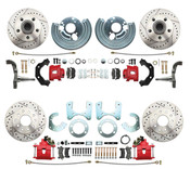 DBK6272834LXR - 1962-1972 Mopar B&E High Performance Disc Brake Conversion Kit w/ Red Powder Coated Calipers