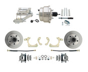 "DBK5558-GMFS1-309-1955-1958 GM Full Size Disc Brake Kit w/ 8"" Dual Chrome Power Brake Booster Conversion Kit (Impala, Bel Air, Biscayne)"