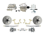 "DBK5558-GMFS1-310-1955-1958 GM Full Size Disc Brake Kit w/ 8"" Dual Chrome Power Brake Booster Conversion Kit (Impala, Bel Air, Biscayne)"