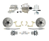 "DBK5558-GMFS1-311-1955-1958 GM Full Size Disc Brake Kit w/ 8"" Dual Chrome Power Brake Booster Conversion Kit (Impala, Bel Air, Biscayne)"