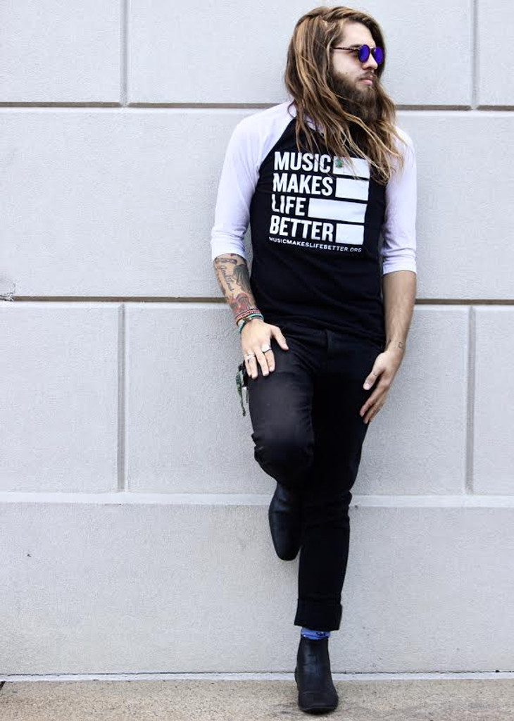 "Music Makes Life Better Unisex ""Limited Edition"" 3/4 Tee - Black/White"