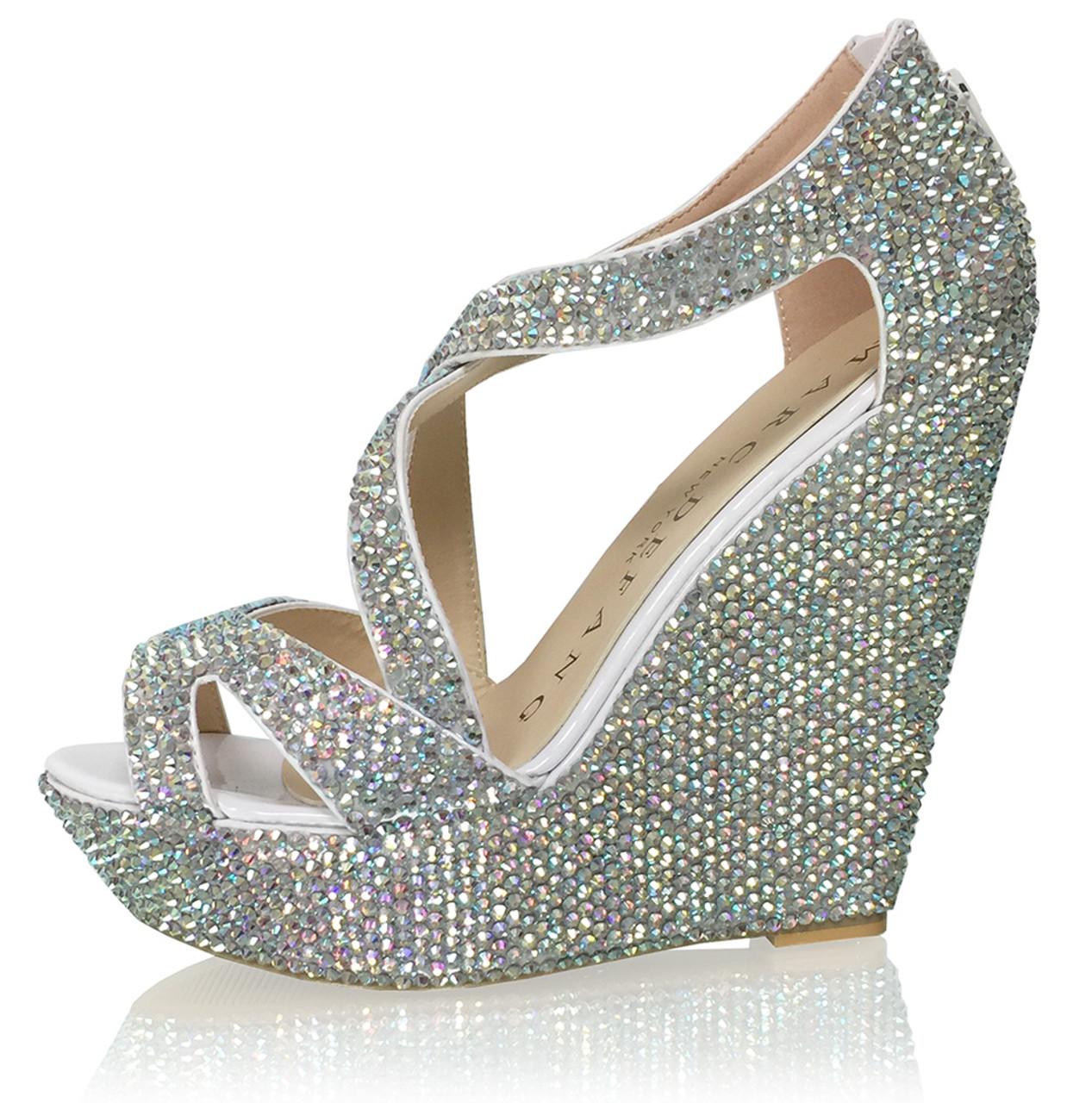 "5.5"" Heels Luxury Crystal Bridal Strappy Platform Wedges"