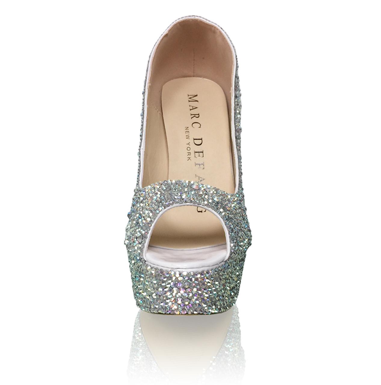 "6"" Peep Toes 2-5mm Mixed Crystal Platform High Heels"