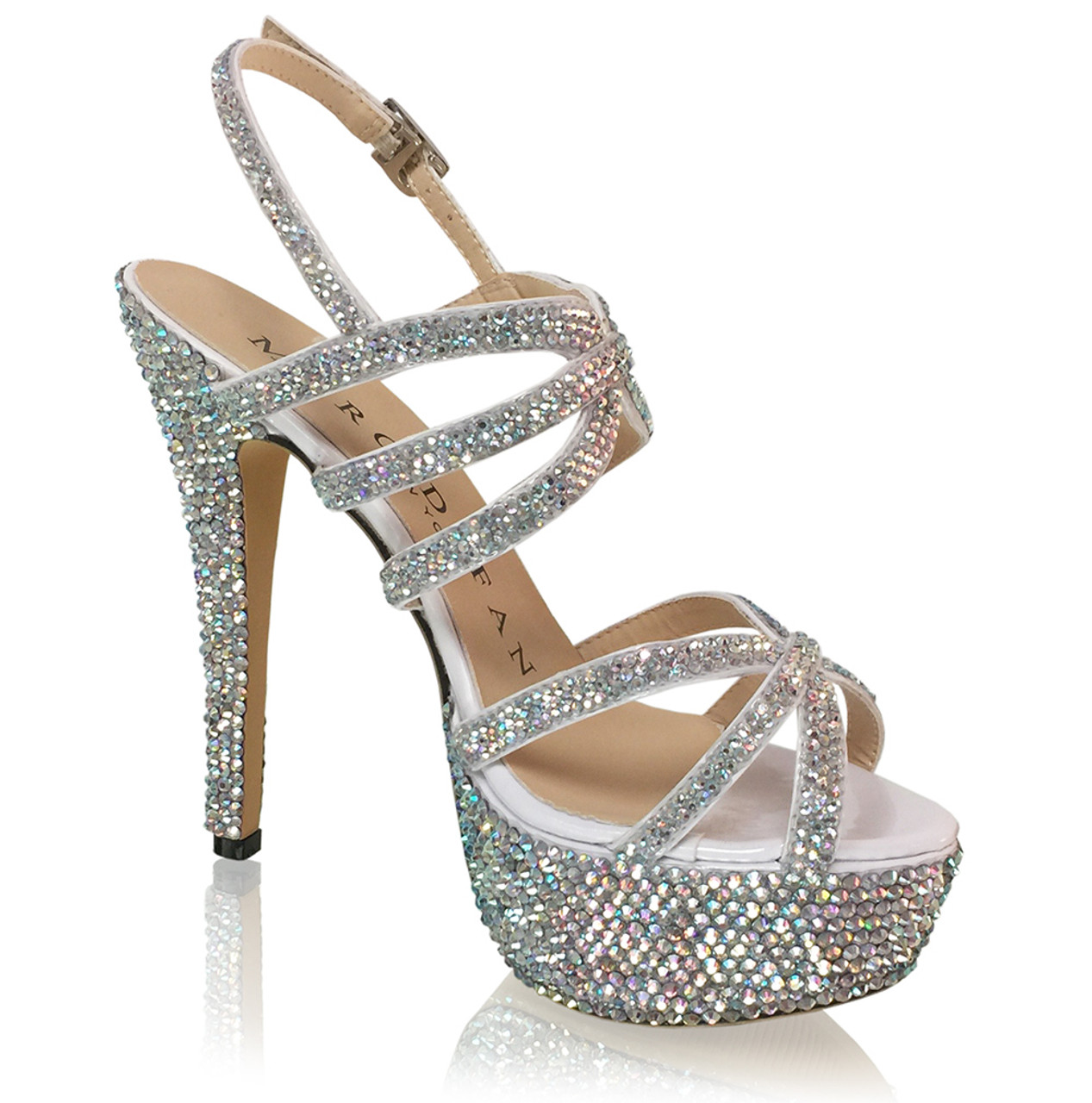 Crystal Strappy Evening Formal Sandal Heels