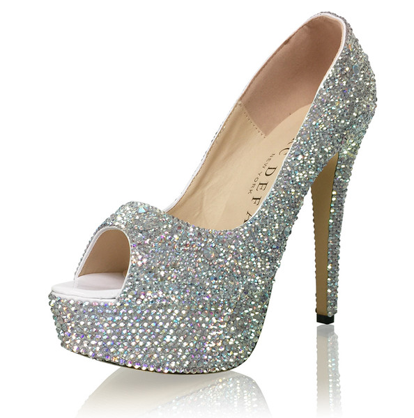"6"" Peep Toes 2-5mm Mixed Crystal Platform High Heels"